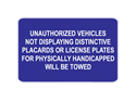 Picture of Unauthorized Vehicles Not Displaying Distinctive Placards-Text