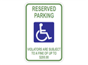 Picture of White -Reserved Parking Violators Are Subject To A Fine Up To $200.00