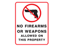 Picture of No Firearms Or Weapons Allowed On This Property w/Picture