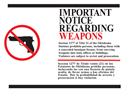 Picture of Important Notice Regarding Weapons