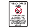 Picture of TOBACCO FREE ZONE YOU ARE ENTERING A TOBACCO FREE ENVIRONMENT - ALL TOBACCO AND TOBACCO LIKE PRODUCTS MUST BE SECURE IN YOUR VEHICLE. W/TOBACCO PRODUCT CROSSOUT IMAGE